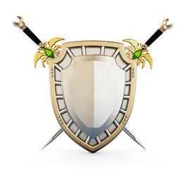 Shield and crossed swords. 3D illustration