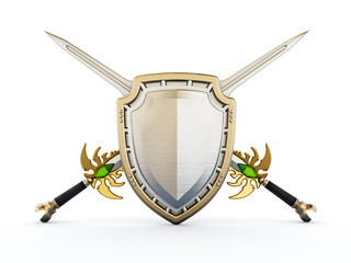 Shield and crossed swords. 3D illustration