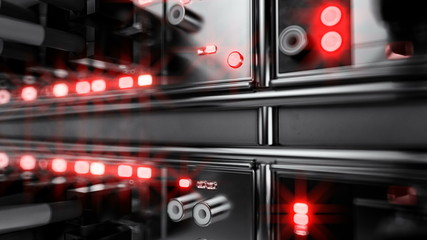 Lights and connections on network server. 3d illustration