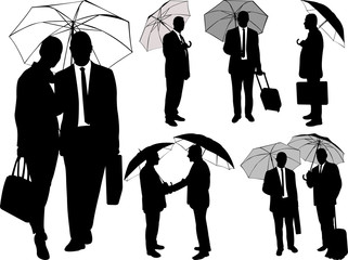 Man and woman under umbrella silhouettes - vector