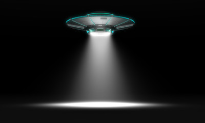 Printed roller blinds UFO Vintage UFO isolated on black. 3d illustration