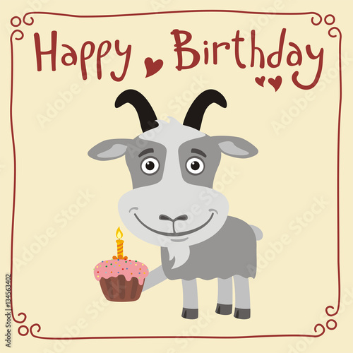 Happy birthday Funny goat with birthday cake Greeting card with – Goat Birthday Card