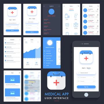 Medical App UI, UX and GUI kit.