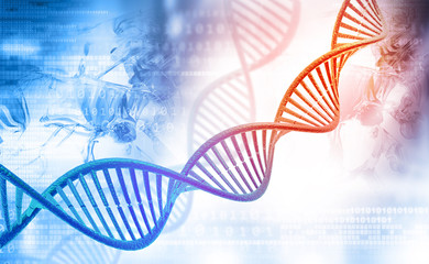 DNA molecules on digital background