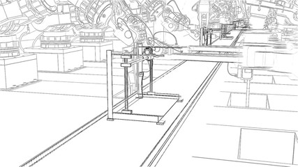 Robotic Arm Assembling 3d Printer On Conveyor Belt 3d illustration