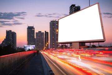 Roadside billboards in the evening or twilight