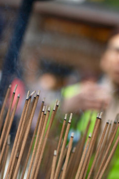 Burning Incense at Temple