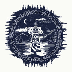 Lighthouse on the mountain lake tattoo art. Symbol of travel