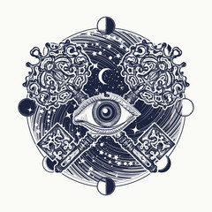 All seeing eye tattoo occult art, masonic symbol and key
