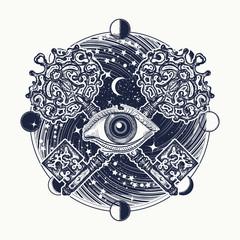 All seeing eye tattoo occult art, masonic symbol and key