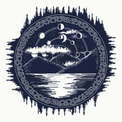 Mountain lake tattoo art. Mystical symbol of tourism, camping