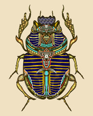 Gold scarab color tattoo, ancient Egypt art
