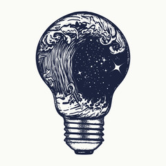 Storm in a light bulb tattoo. Symbol of adventures boho style
