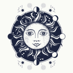 Sun tattoo art. Moon phases. Medieval alchemical symbol