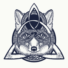 Fox viking in the celtic style, tattoo art. Fox t-shirt design