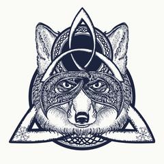 Fox viking in the celtic style, tattoo art. Fox t-shirt design