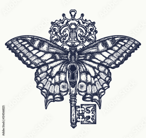 Butterfly And Key Tattoo Art Mystical Symbol Of Freedom Stock