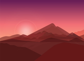 Vector Silhouettes Of Mountains Backgrounds. Sunset.