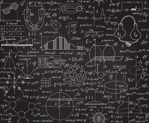 Physical scientific vector seamless pattern with formulas, plots, equations, handwritten with chalk on a grey board