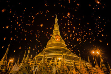 Lanterns over Shwedagon temple by night, Yangon, Myanmar
