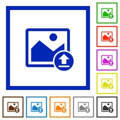 Upload image flat framed icons