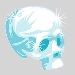 Vector shining crystal skull in cartoon style