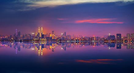 Fotomurales - Panoramic view of Kuala Lumpur city waterfront skyline.