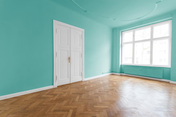 Apartment with mint green walls