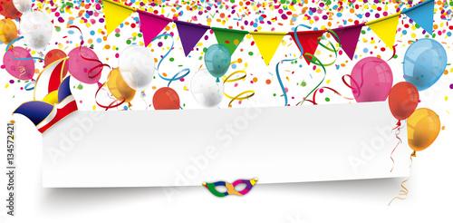 Karneval Header Mit Luftballons Konfetti Und Luftschlangen