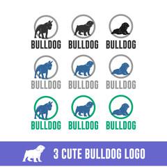 cute bulldog. cute icons for dog company, isolated