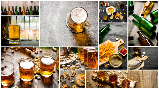 Food collage of beer .