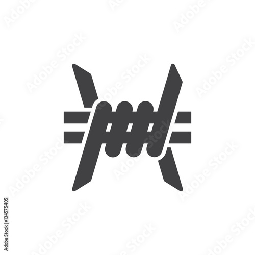 Quot barbed wire icon vector filled flat sign solid