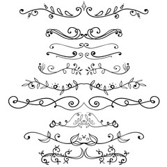 Big set of vintage elements. Vector decoration collection. Hand drawn flowers, leaves and page decor.