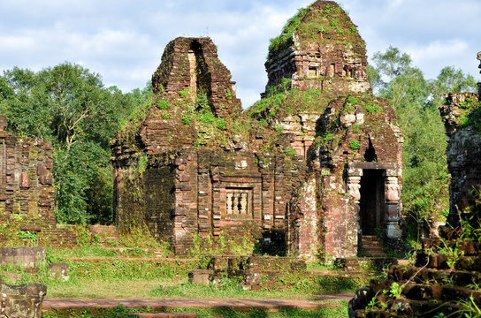 My Son temple ruins in Vietnam on a sunny early morning in summer