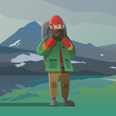 Old man with beard and backpack in the mountains.