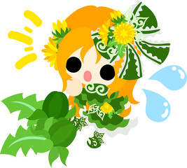 Illustration of a cute girl and bud of dandelion