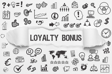 Loyalty Bonus / weißes Papier mit Symbole
