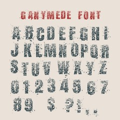 Decorative alphabet vector font. Letters symbols and numbers. Typography for headlines, posters, logos etc. Shattered style. Grunge texture
