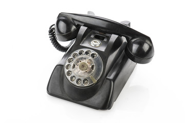 Vintage telephone isolated on a white background..