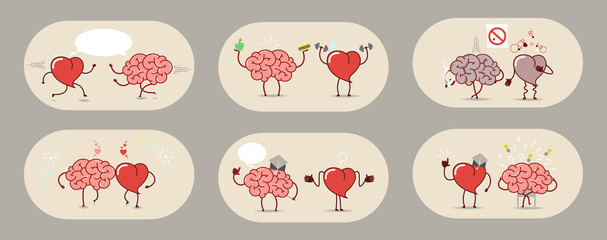 The brain and the heart, set of stories. Teamwork, heart attack, healthy organs. Set of vector icons cartoon.