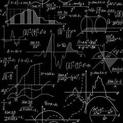 Math scientific vector seamless background with handwritten figures, formulas, plots
