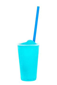 Colorful slushy, summer drink with straw