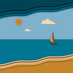 seascape with sailboat the day vector illustration