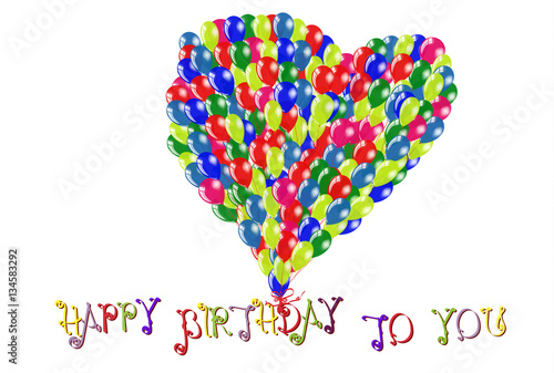 Happy Birthday To You Inscriptions Love Symbol In Heart Shape