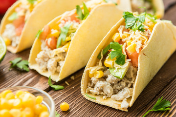 Ready to eat taco with chicken and vegetables