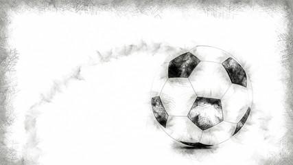 Fussball vor weißem Hintergrund gemalt
