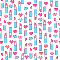 Valentine lipstick seamless pattern