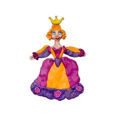 Plasticine  princess 3D rendering  sculpture isolated on white