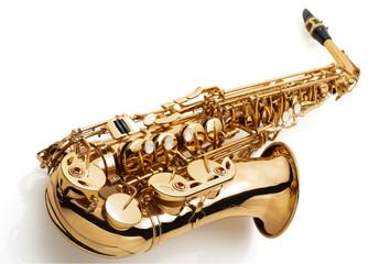 alt saxophone on white