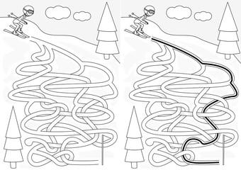 Skiing maze